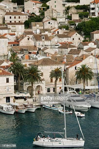 CROATIA-Southern Dalmatia-HVAR Island-HVAR TOWN: View of the yacht harbor