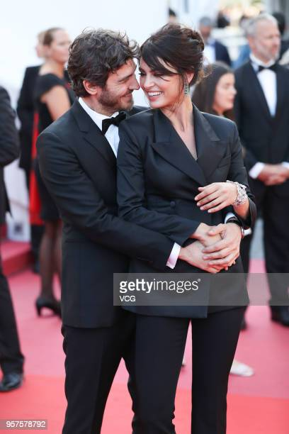 Croation model Robert Konjic and Romanian model Catrinel Menghia attend the screening of 'Ash Is Purest White' during the 71st annual Cannes Film...