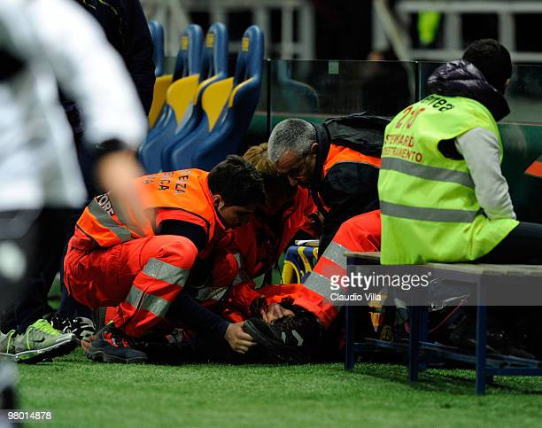 Croce Rossa volunteers are injured during the Serie A match between Parma FC and AC Milan at Stadio Ennio Tardini on March 24, 2010 in Parma, Italy.