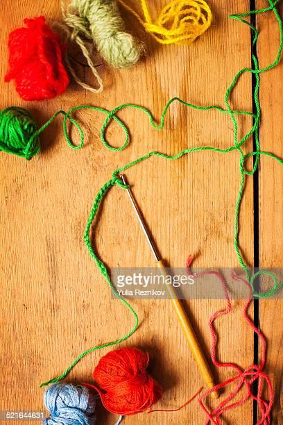 Crochet hook and threads