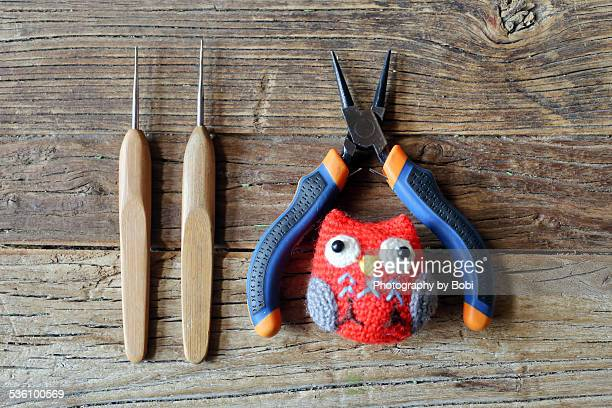Crochet hook owl toy and pliers