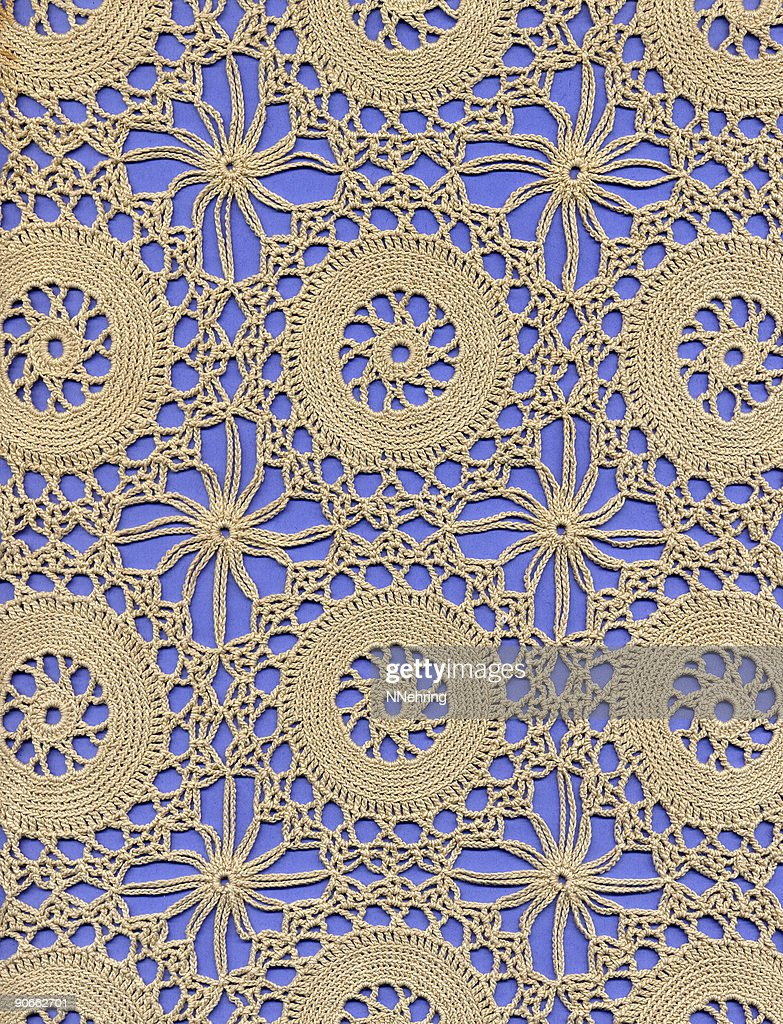 crochet lace ground with circles : Stock Photo