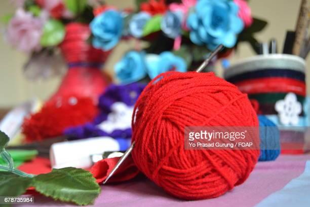 Crochet needle and ball of wool