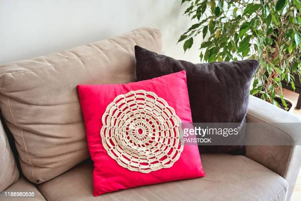crochet pillow case makeover - cushion stock pictures, royalty-free photos & images