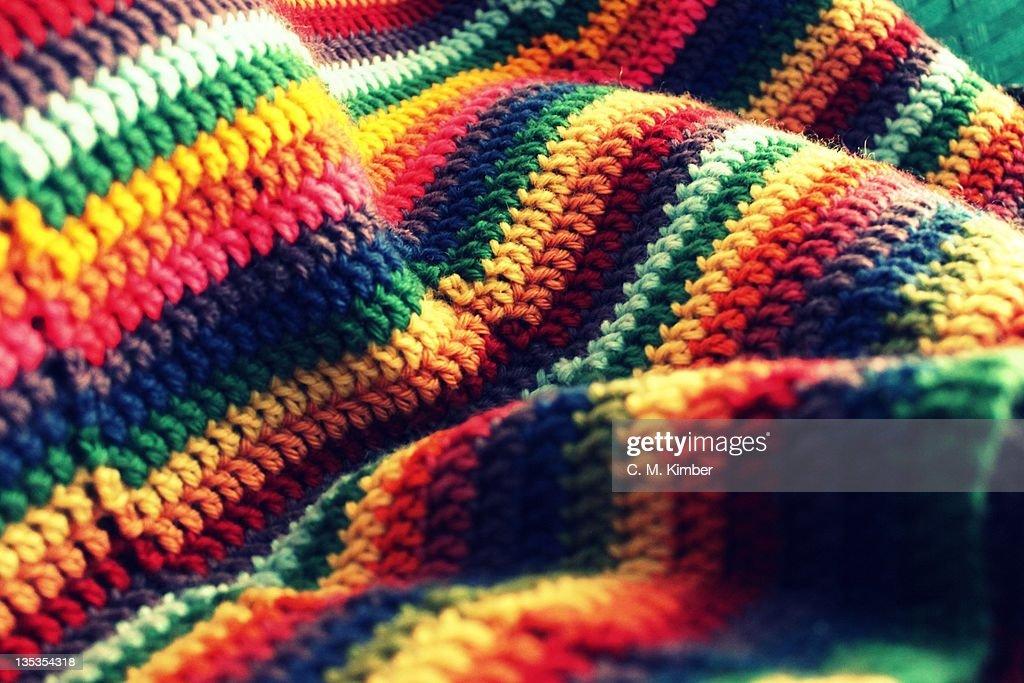 Crocheted blanket terrain : Stock Photo