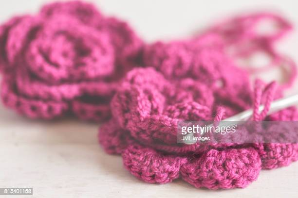 Crocheted flowers with hook