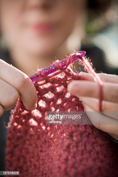 crocheting in pink