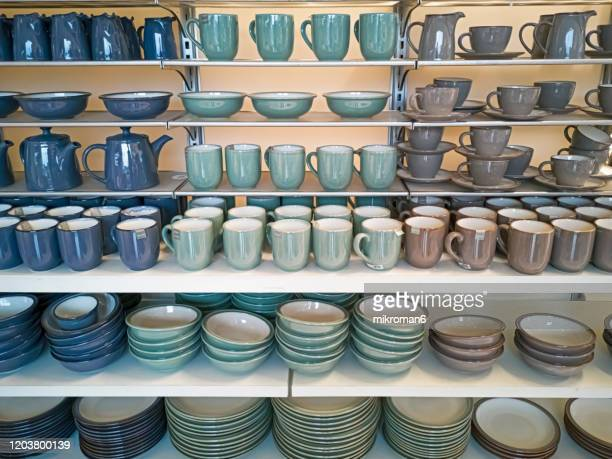 crockery, porcelain, utensils and other different stuff on shop - shop stock pictures, royalty-free photos & images