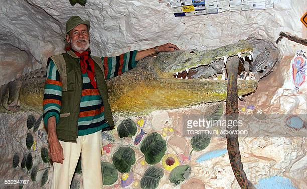 Crocodile Harry a onetime Latvian baron Waffen SS trooper and crocodile hunter displays his underground home decorated with women's underwear and...