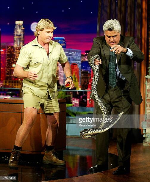 "Crocodile Hunter"" Steve Irwin appears on ""The Tonight Show with Jay Leno"" at the NBC Studios on November 6, 2003 in Burbank, California."
