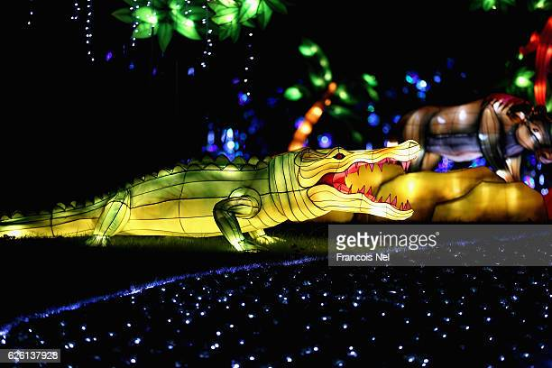 A crocodile light sculpture on display at Zabeel Park on November 27 2016 in Dubai United Arab Emirates The themed garden which is located in Zabeel...
