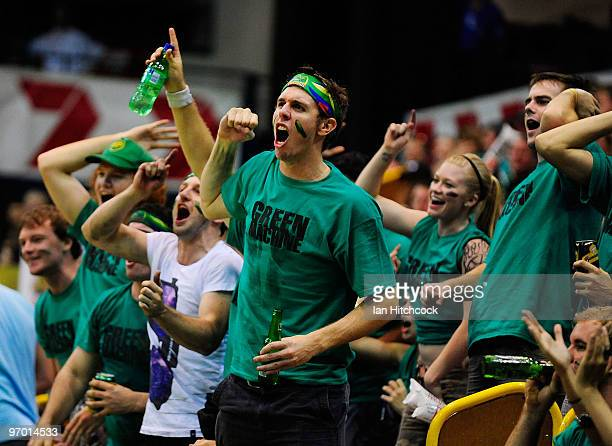 Crocodile supporters show their support during game two of the NBL semi final series between the Townsville Crocodiles and the Wollongong Hawks at...