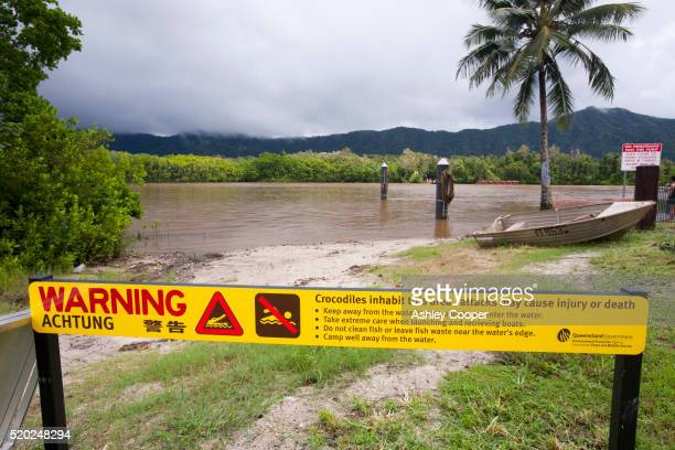 Crocodile warning sign on Daintree River