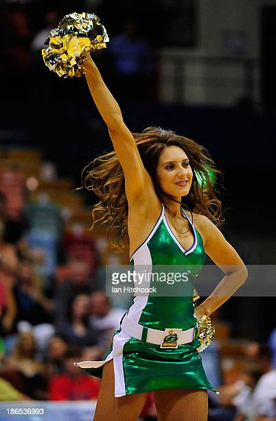 Crocodiles cheer girls perform during the round four NBL match between the Townsville Crocodiles and the Sydney Kings at Townsville Entertainment...