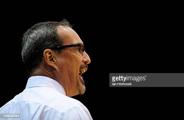 Crocodiles coach Paul Woolpert yells out during the round 12 NBL match between the Townsville Crocodiles and the Adelaide 36ers at Townsville...