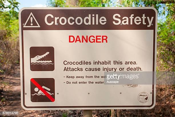 Crocodiles warning sign Kakadu National Park Northern Territory Australia