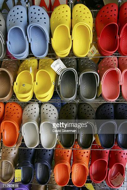 ae377136b2623 Crocs Shoes Increasingly Popular Amongst Trendy Israelis Pictures and  Images. ED. Editorial use only. Crocs shoes in all sizes and colors are  displayed in a ...
