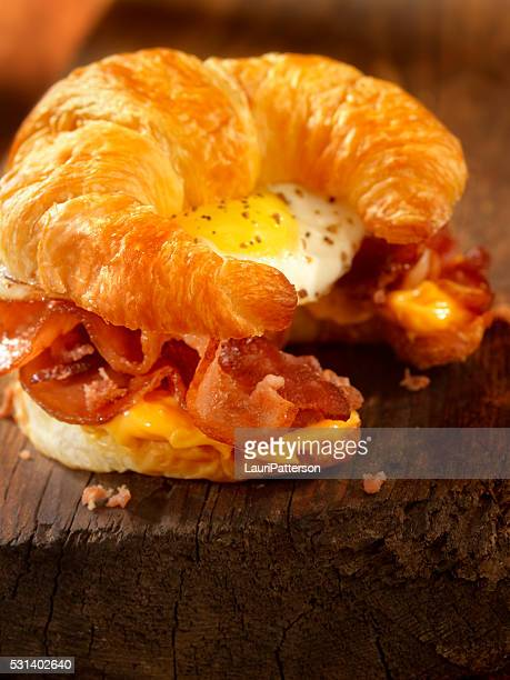 Croissant Breakfast Sandwich with Bacon,egg and Cheese