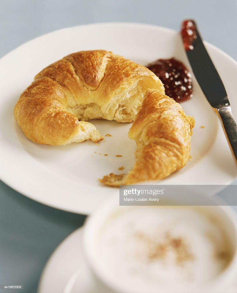 Croissant on a Plate With Jam : Stock Photo