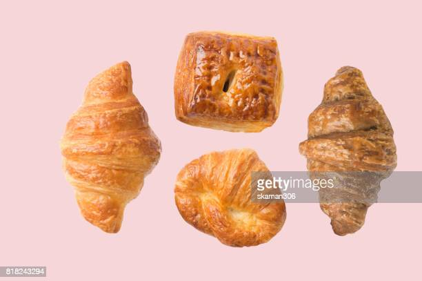 croissant pastry and home made bakery with pastel color background