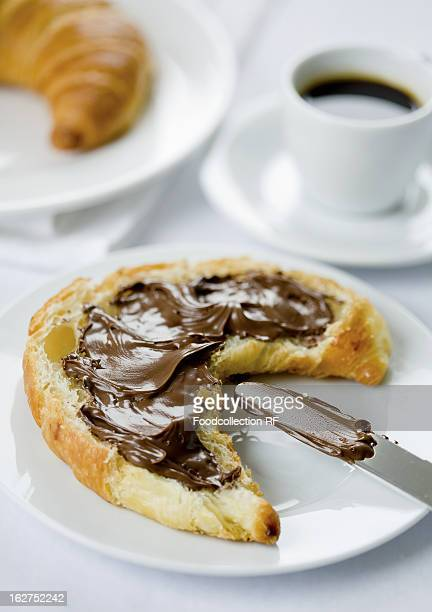 Croissant spread with chocolate and espresso