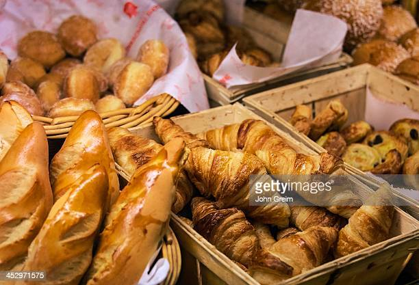 Croissants and bread in a French pastry shop