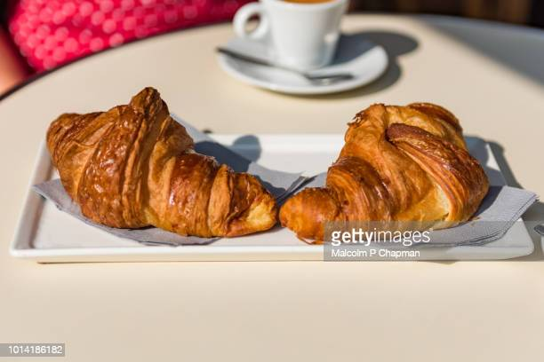 croissants and coffee - a typical parisian breakfast - croissant stock pictures, royalty-free photos & images