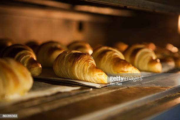 Croissants in a bakers oven.