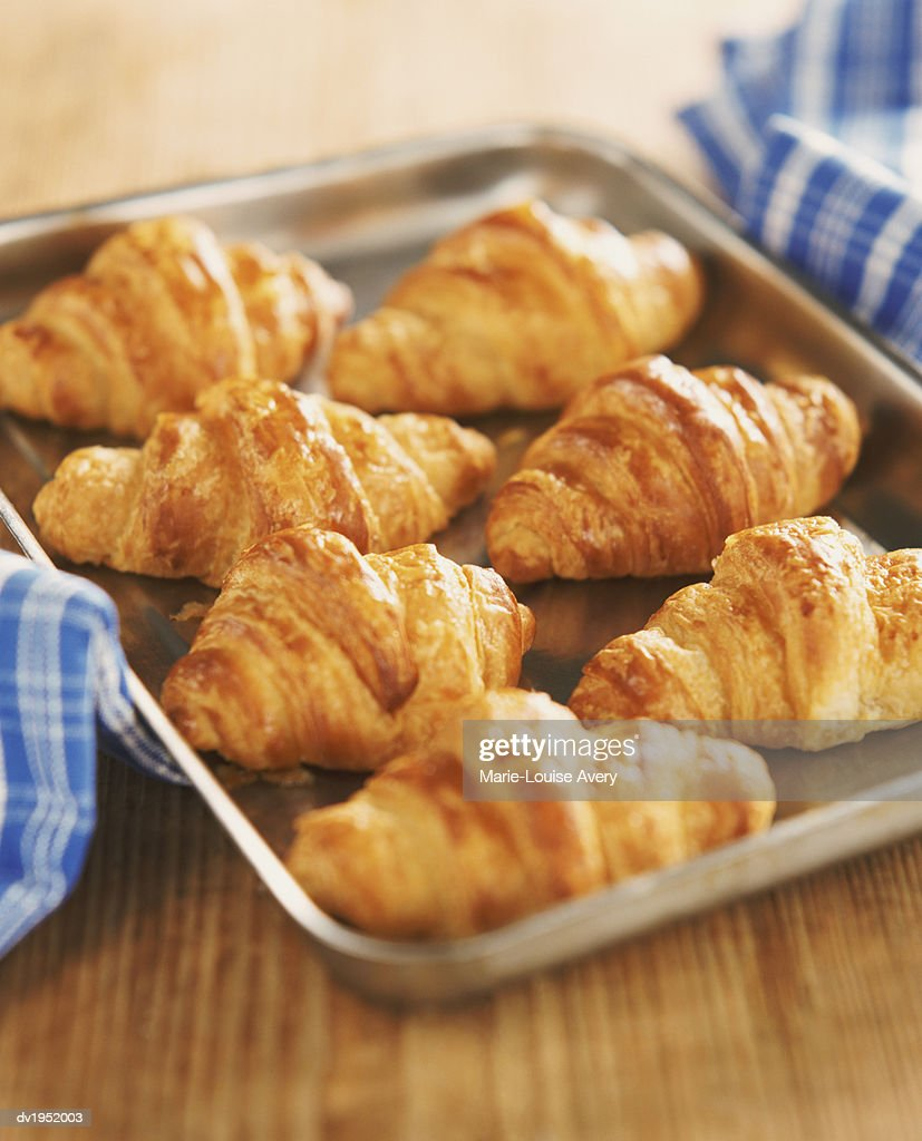 Croissants on a Baking Tray : Stock Photo