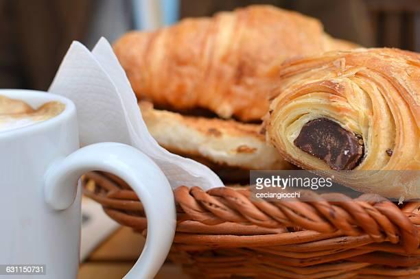 croissants, pain au chocolat and coffee breakfast