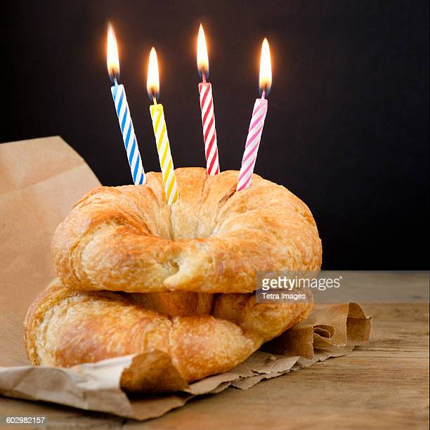 Croissants with birthday candles