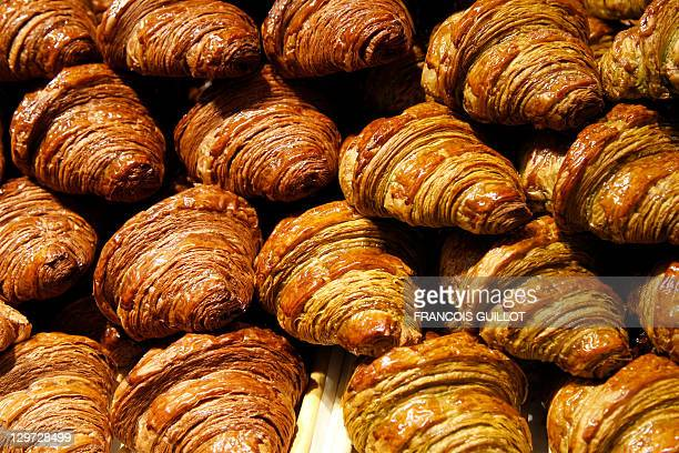 Croissants with chocolate are displayed at a Japanse stand of the 17th 'Salon du Chocolat' on October 20 2011 in Paris The event runs until October...