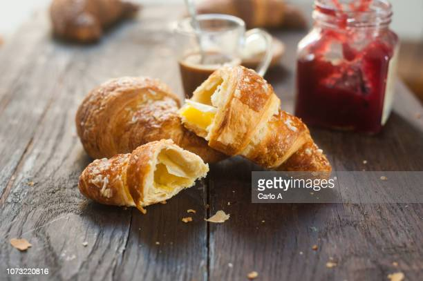 croissants with coffee and jam - croissant stock pictures, royalty-free photos & images