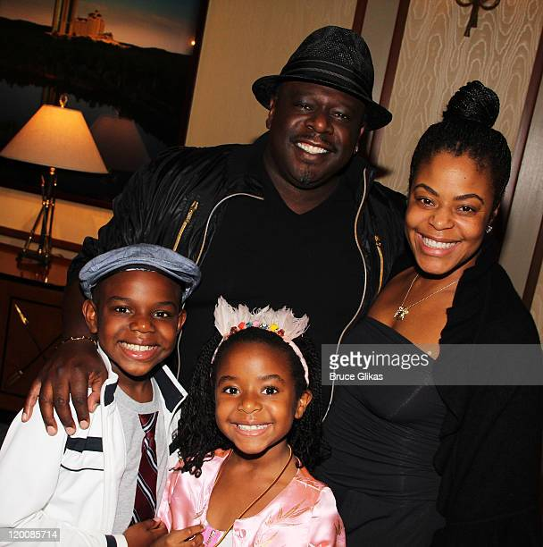 Croix Alexander Kyles Lucky Rose Kyles father Cedric the Entertainer and wife Lorna Wells pose backstage at the hit musical SpiderMan Turn Off The...