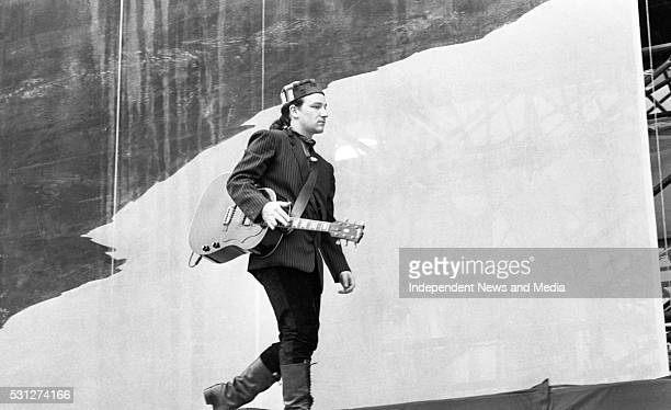 Croke Park Dublin circa June 27 1987 Bono testing the sound system during their final preparations for the big concert in Croke Park for U2 The...
