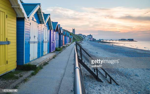 cromer seaside at sunset - charming stock pictures, royalty-free photos & images