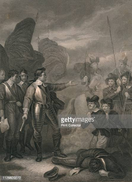 Cromwell Suppressing The Mutiny in the Army' circa 1640s Oliver Cromwell English military leader and politician bringing his troops under control...