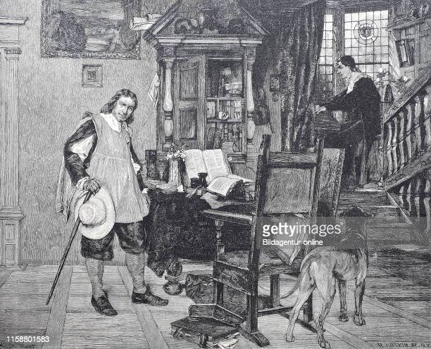 Cromwell visitung J Milton Oliver Cromwell 1599 to 1658 an English military and political leader John Milton 1608 to 1674 an English poet digital...