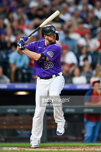 Cron of the Colorado Rockies bats against the St. Louis Cardinals during a game at Coors Field on July 3, 2021 in Denver, Colorado.