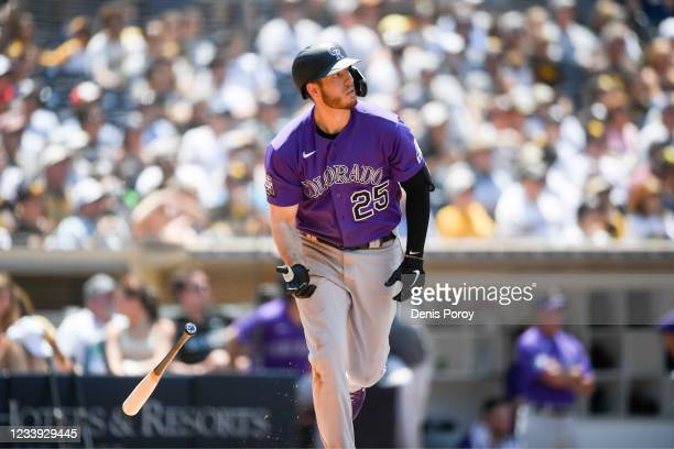Cron of the Colorado Rockies hits a solo home run during the fourth inning of a baseball game agains the San Diego Padres at Petco Park on July 11,...
