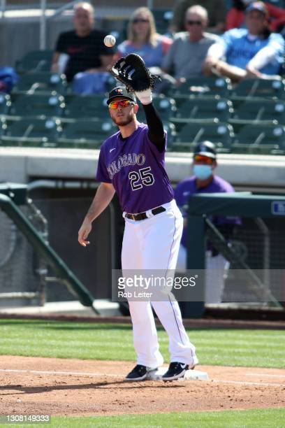 Cron of the Colorado Rockies in action during the game against the Chicago Cubs at Salt River Fields at Talking Stick on March 11, 2021 in...