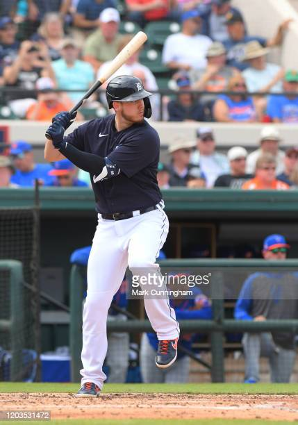 Cron of the Detroit Tigers bats during the Spring Training game against the New York Mets at Publix Field at Joker Marchant Stadium on February 25,...
