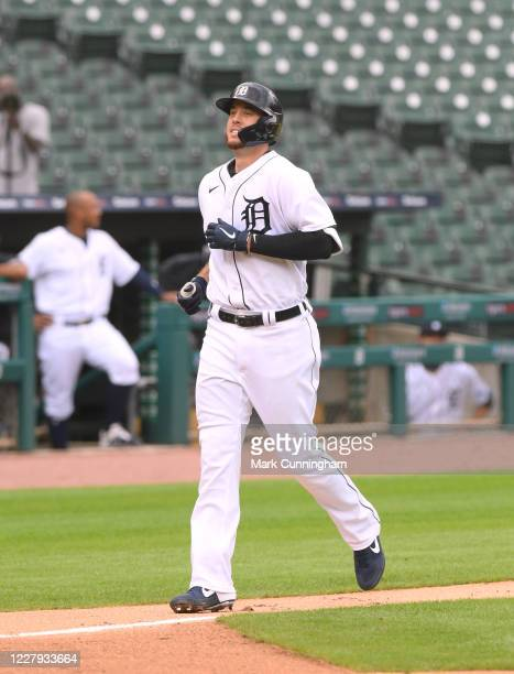Cron of the Detroit Tigers runs the bases during game one of a doubleheader against the Cincinnati Reds at Comerica Park on August 2, 2020 in...
