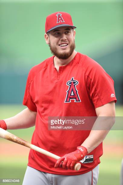 J Cron of the Los Angeles Angels looks on of Anaheim during batting practice of a baseball game against the Washington Nationals at Nationals Park on...