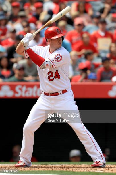 J Cron of the Los Angeles Angels of Anaheim at bat during a game against the Seattle Mariners at Angel Stadium of Anaheim on April 9 2017 in Anaheim...