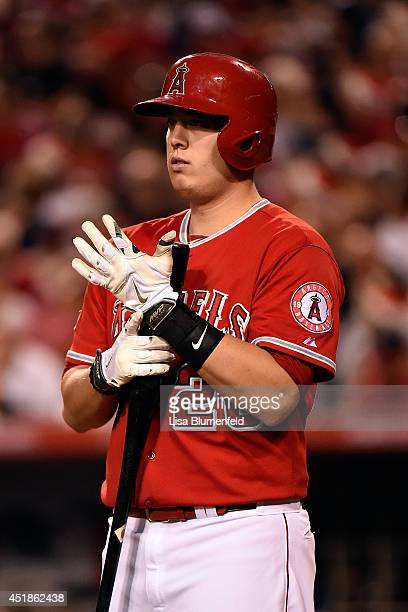 J Cron of the Los Angeles Angels of Anaheim bats against the Minnesota Twins at Angel Stadium of Anaheim on June 25 2014 in Anaheim California