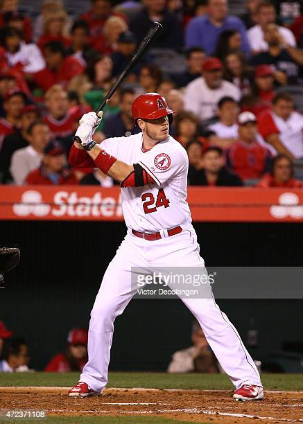 J Cron of the Los Angeles Angels of Anaheim bats in the fifth inning during the MLB game against the Seattle Mariners at Angel Stadium of Anaheim on...