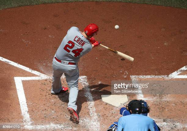 J Cron of the Los Angeles Angels of Anaheim bats in the fourth inning during MLB game action against the Toronto Blue Jays at Rogers Centre on July...