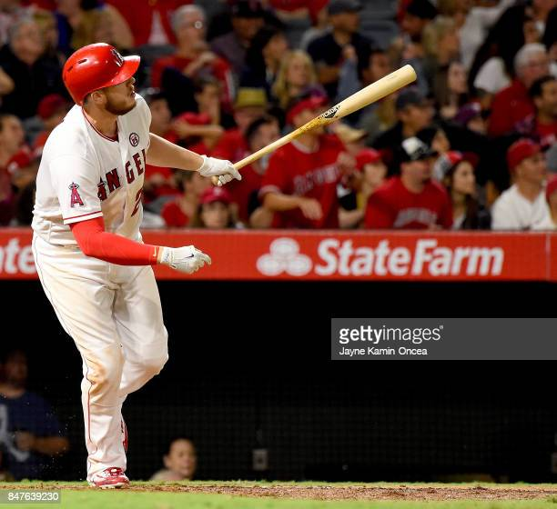 J Cron of the Los Angeles Angels of Anaheim hits a two run home run in the sixth inning of the game against the Texas Rangers at Angel Stadium of...