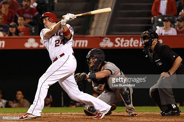 J Cron of the Los Angeles Angels of Anaheim hits a walk off two run homerun in the ninth inning to defeat the Detroit Tigers 119 at Angel Stadium of...